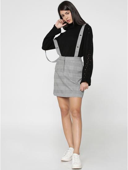 White Check Dungaree Mini Skirt