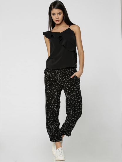 Black All Over Print Mid Rise Relaxed Fit Pants
