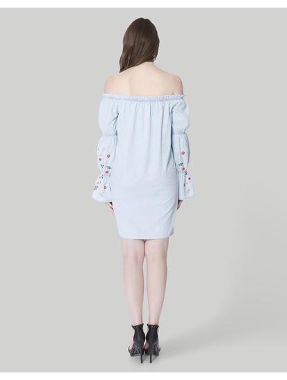 Light Blue Embroidered Off Shoulder Mini Dress