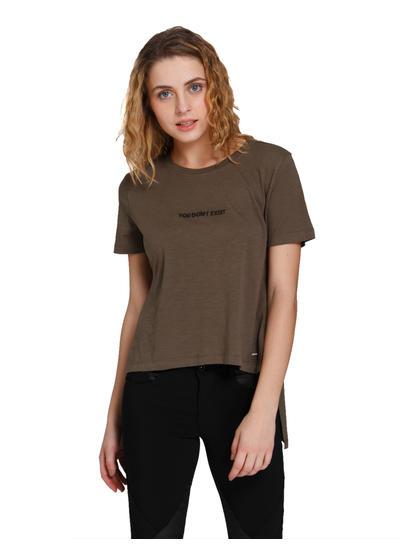 Brown Text Print High Low T-Shirt