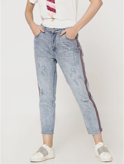 Light Blue Mid Rise Distressed Tape Detail Boyfriend Jeans