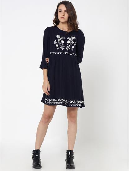 Dark Blue Embroidered Boho Shift Dress