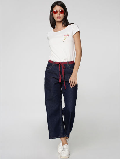 Dark Blue High-Waisted Denim Culottes