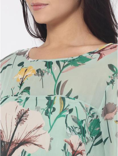 Green Floral Print Frill Detail Mini Dress