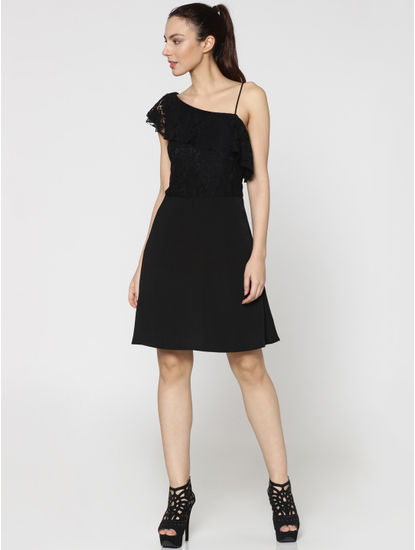 Black One Shoulder Lace Skater Dress