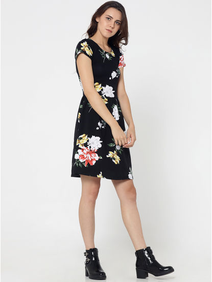 Black Floral Print Criss Cross Back Fit & Flare Dress
