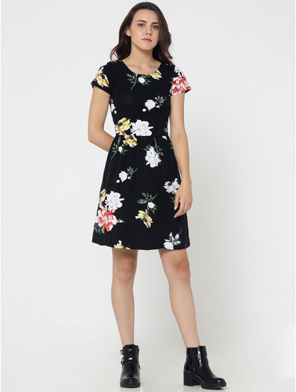 Black Floral Print Criss Cross Back Fit & Flare Dress