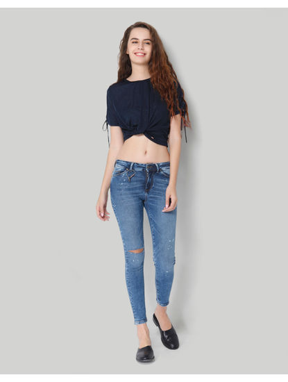 Blue Low Rise Ankle Length Skinny Denim