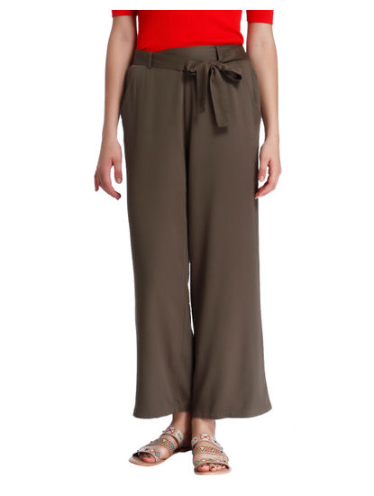 Brown High Waist Flared Pants