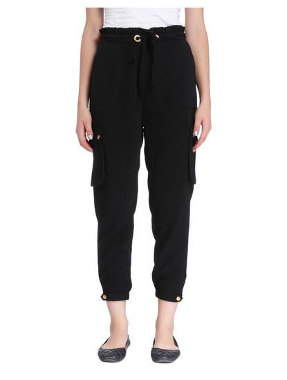 Black Drawstring Cropped Pants