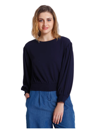 Dark Blue Elasticised Waist Top
