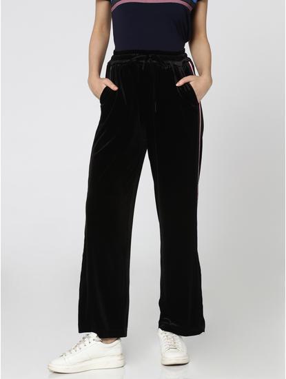 Black Racer Striped Slit Velvet Pants