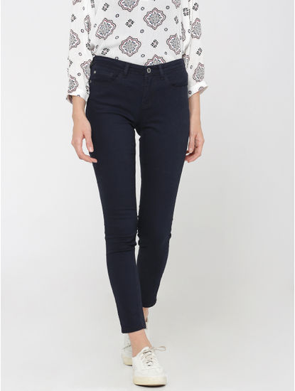 Dark Blue Mid Rise Skinny Fit Pants