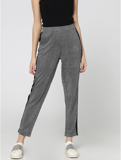 Black Tape Detail Mid Rise Comfort Fit Check Pants