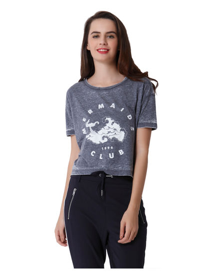 Grey Mermaid Print Crop T-Shirt