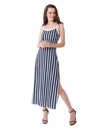 Blue Striped Strappy Side Split Maxi