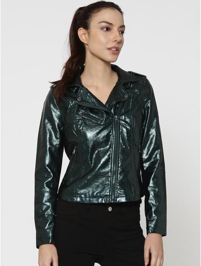 Green Metallic Biker Jacket