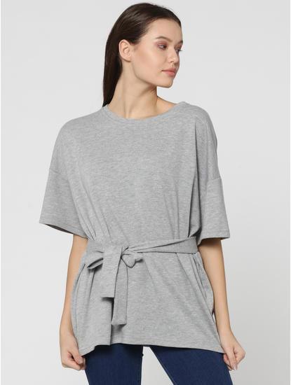 Light Grey Tie Waist Drop Shoulder Sweatshirt