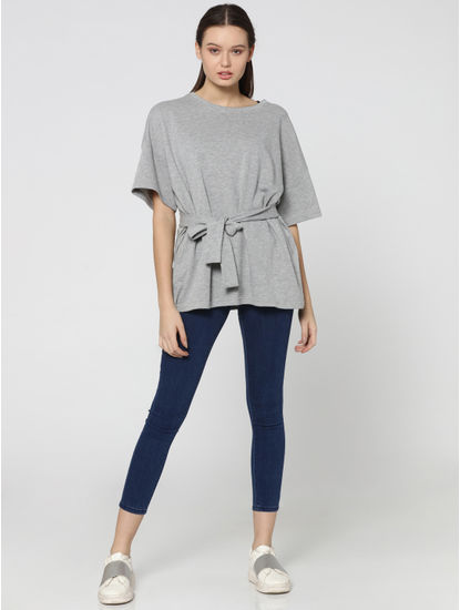 Light Grey Tie Waist Drop Shoulder Sweatshirt