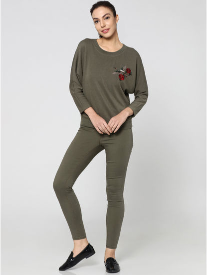 Green Embroidered Long Sleeves Sweatshirt