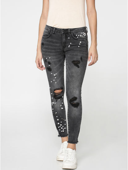 Grey Embellished Distressed Mid Rise Skinny Fit Ankle Length Jeans
