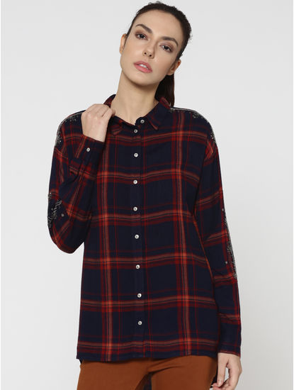 Dark Blue Embellished Sleeves Check Shirt