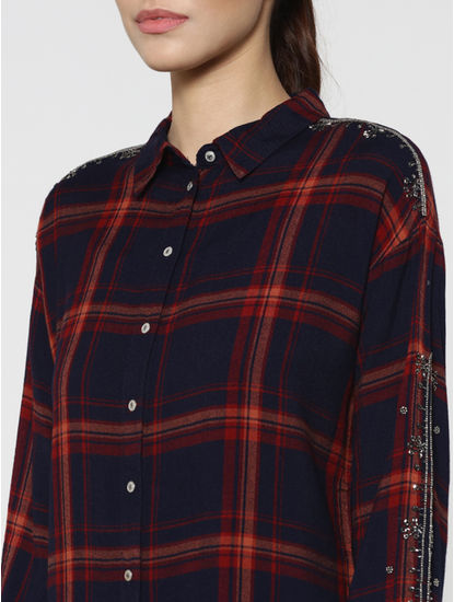 Dark Blue Embellished Sleeves Check Shirt