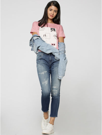 Blue Mid Rise Mildly Distressed Regular Fit Jeans