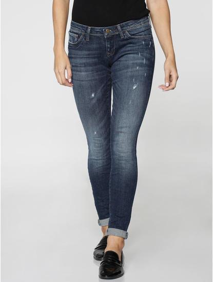 Blue Low Waist Mildly Distressed Skinny Fit Jeans