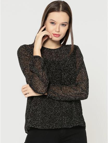 Black Textured Sheer Top