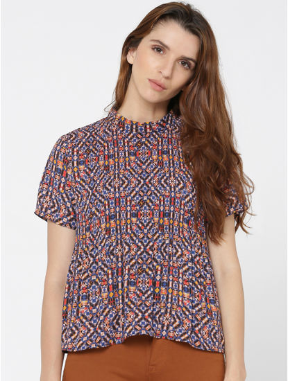 Pink All Over Print Short Sleeves Top