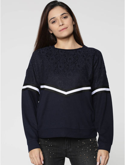 Blue Chevron Pattern Lace Sweatshirt