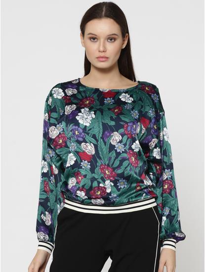 Black Floral Print Batwing Sleeves Top