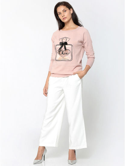 Pink Perfume Bottle Print Pullover