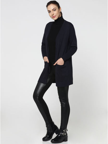 Dark Blue Front Open Long Cardigan
