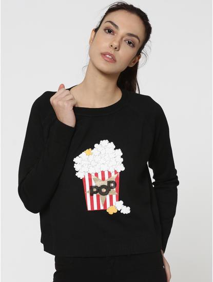 Black Popcorn Print Pullover