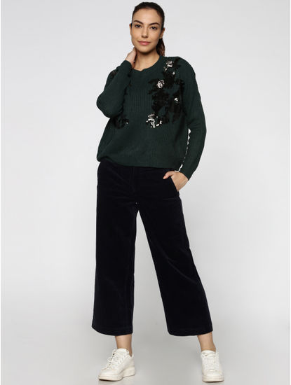 Green Embroidered Long Sleeves Flat Knit Pullover