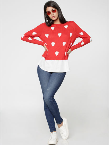 Red Heart Print Shirt Insert Pullover