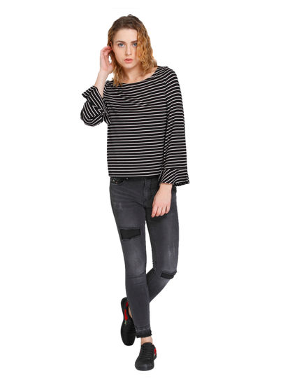 Black Striped Flared Sleeves T-Shirt