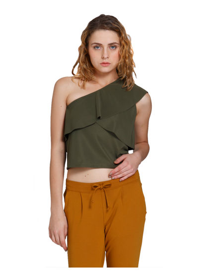 Green One Shoulder Layered Top
