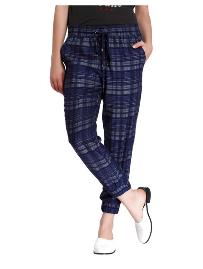 Blue Check Drawstring Pants