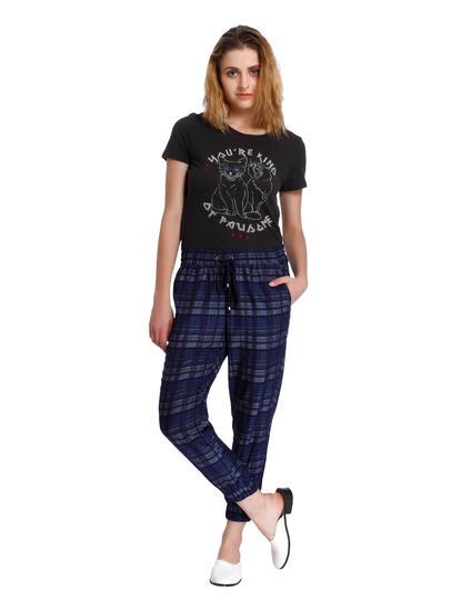 Blue Check Drawstring Pants