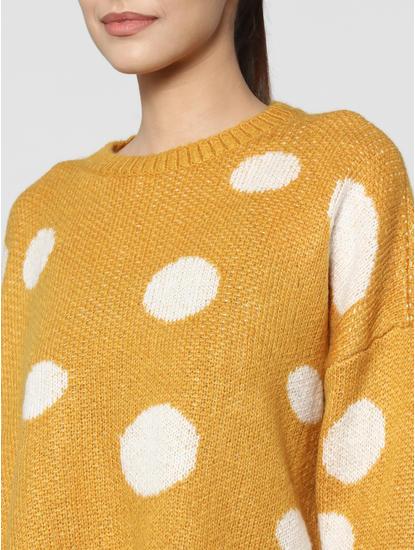 Mustard Polka Dot Cropped Pullover