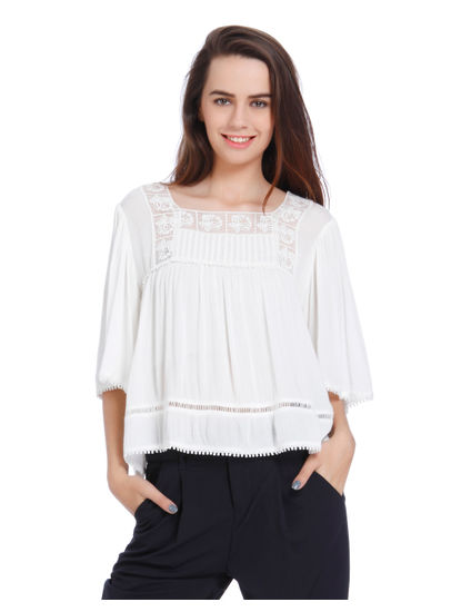 White Mesh Detail Flared Sleeves Top