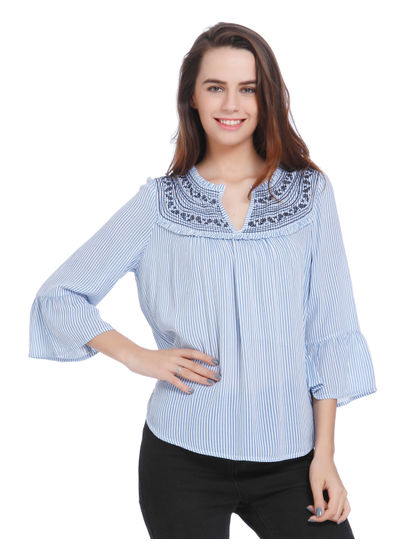 Blue Striped & Embroidered Top