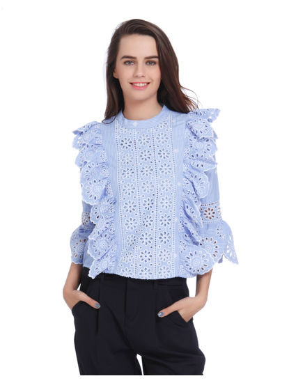 Blue Striped Frill Detail Top