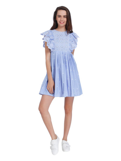 Blue Striped Frill Detail Mini Dress