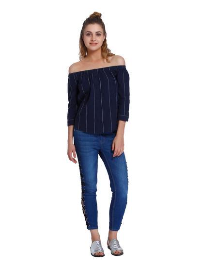 Blue Striped Off Shoulder Shirt