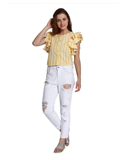 Yellow Striped Ruffle Sleeves Shirt