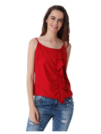 Red Spaghetti Strap Ruffle Detail Top